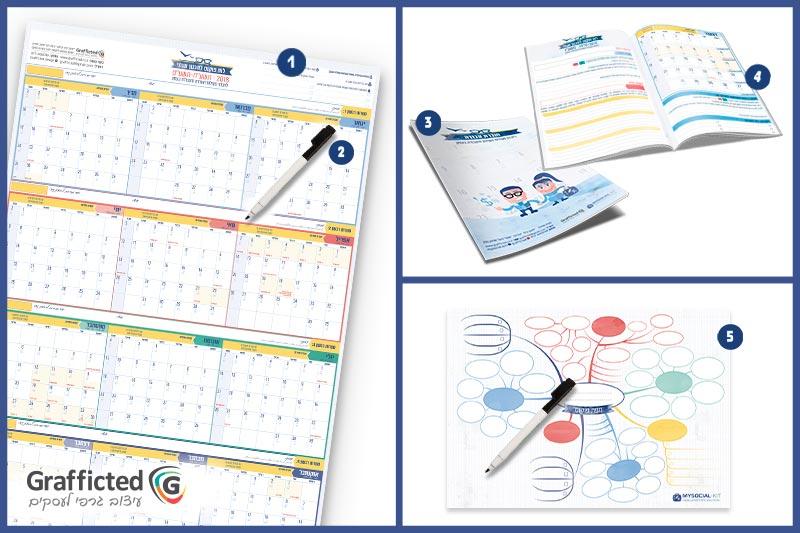 ערכת ניהול זמן שנתית- ערכה לתכנון שנה- הכוללת לוח תכנון שנתי, לוח מחיק לתכנון שנה, המארז הינו מארז לניהול זמן לתכנון שנה, תכנון הפעילויות השיווקיות והמכירות של העסק. מעין תוכנית עבודה שנתית.